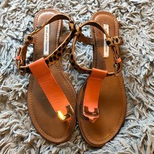 Diane von Furstenberg Coral Leopard Thong Sandals